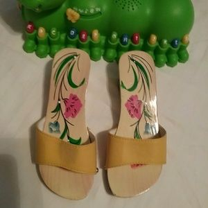 Other - Brand new Little girls yellow wooden shoes